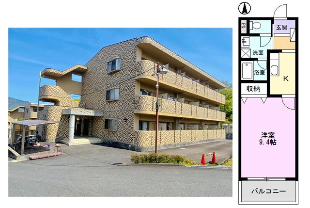 中津川市中津川 賃貸マンション ラ・フォンテⅠ 外観写真と間取り図